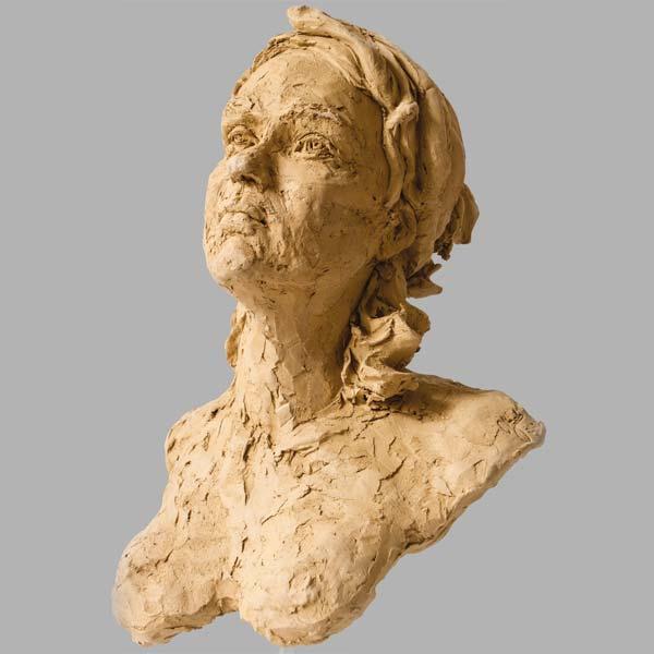 portrait fille sculpture argile