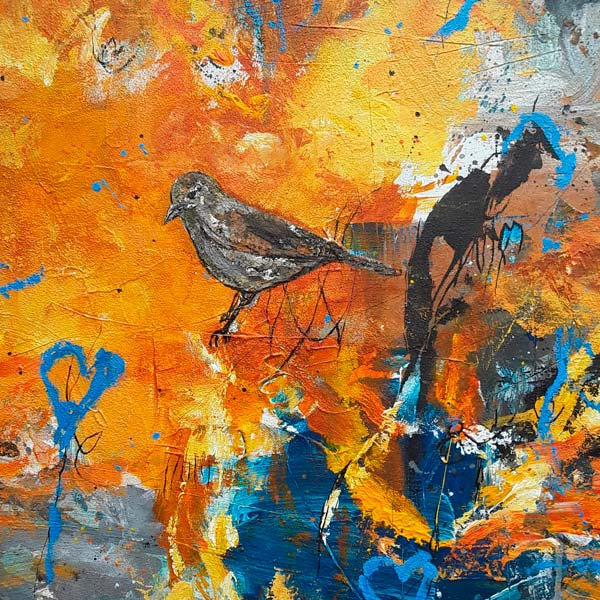 peinture de Erick Leprince, oiseau sur fond orange