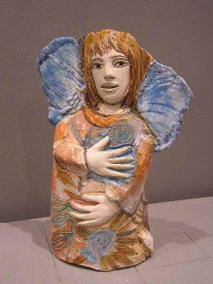 Ange qui rêve, art sculpture céramique