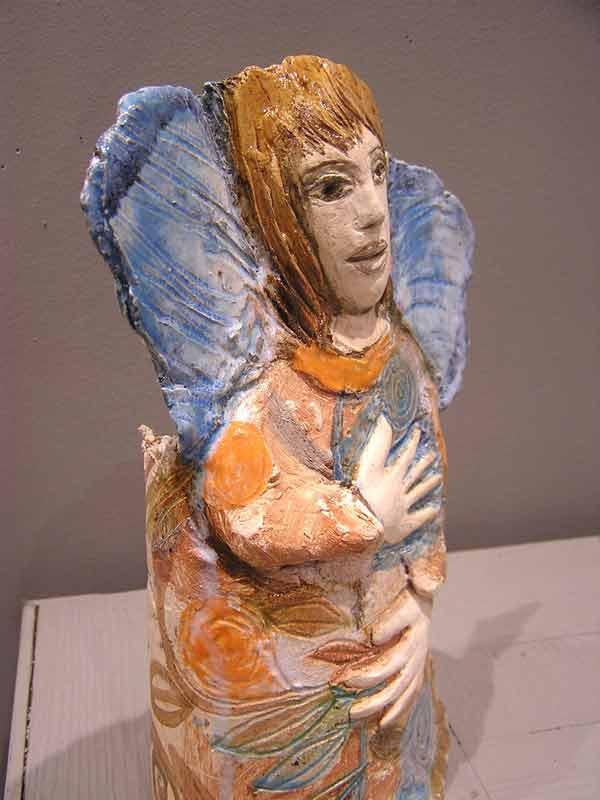 Ange qui rêve, sculpture céramique