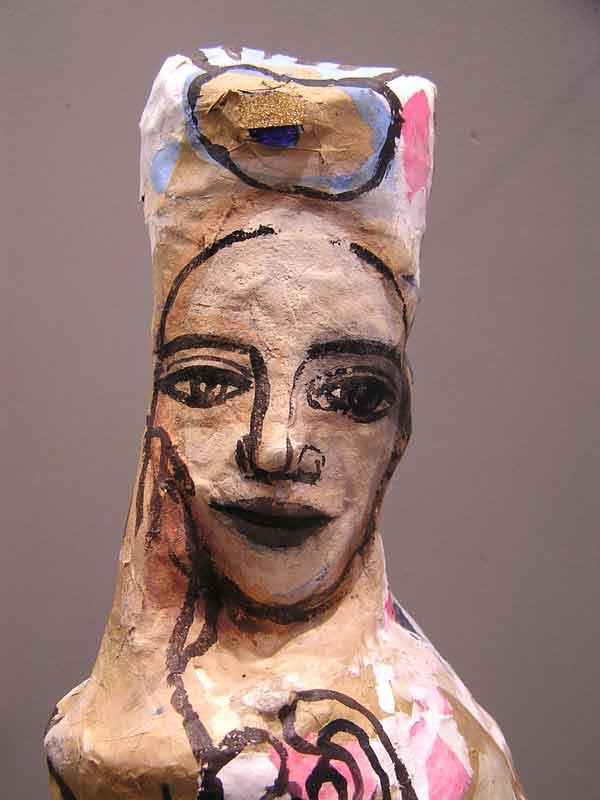 Tête Femme à l'hibiscus, sculpture papiers