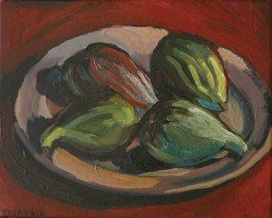 figues dans un plat, peinture expressionniste
