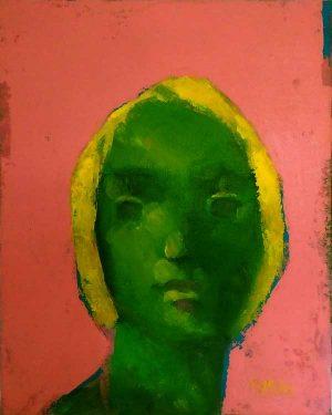 peinture femme verte sur fond rose