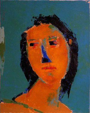 Maschera VI, peinture portrait orange sur fond bleu