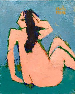 modeste odalisque, peinture femme rose sur fond vert