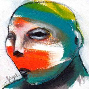 Tête-4, portrait papier marouflé