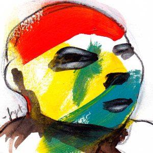 Tête-6, illustration portrait coloré