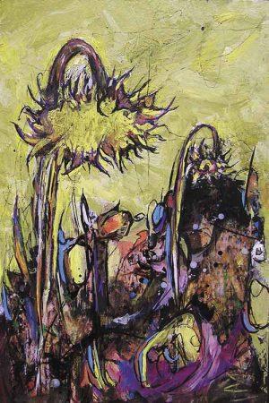 tournesols jaunes, peinture expressionniste