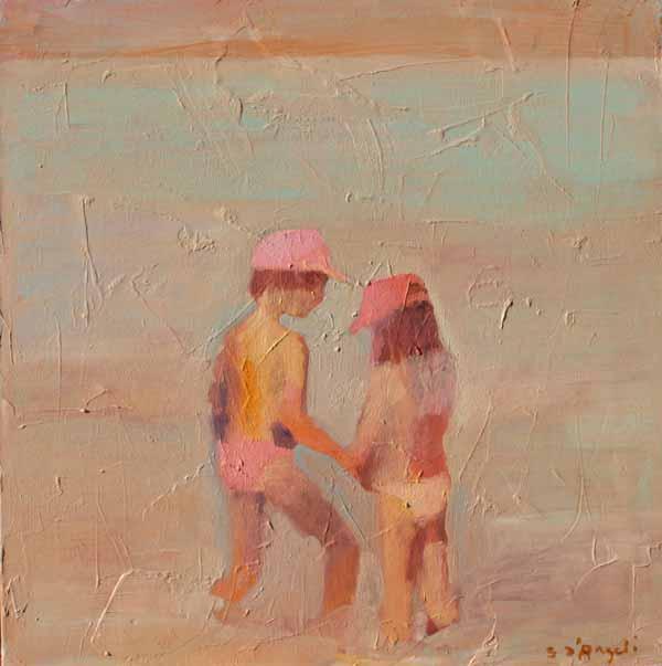 fraternité, peinture glacis enfants sur la plage