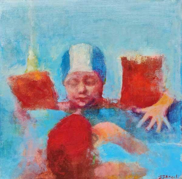 kids in pool, peinture d'enfants dans une piscine