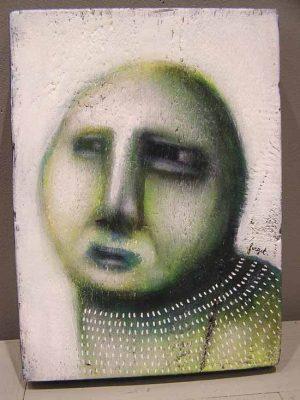 les poiseaux 1, portrait contemporain vert sur fond blanc
