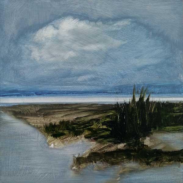 peinture paysage ciel, eau, marais