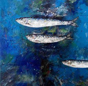 sardines, peinture contemporaine argent et fond bleu