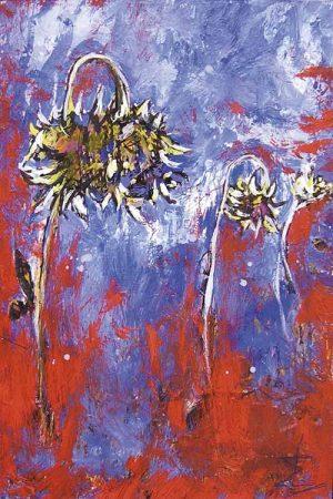tournesols rouges et bleu peinture expressionniste