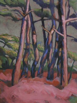 Prairie rose, peinture de Hélène Courtois-Redouté à la galerie Le Gisant à Dinan