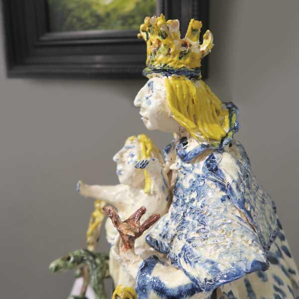 Vierge à l'enfant de profil, céramique