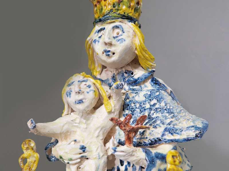 céramique de pierre amourette, vierge et enfant à la galerie d'art Le Gisant