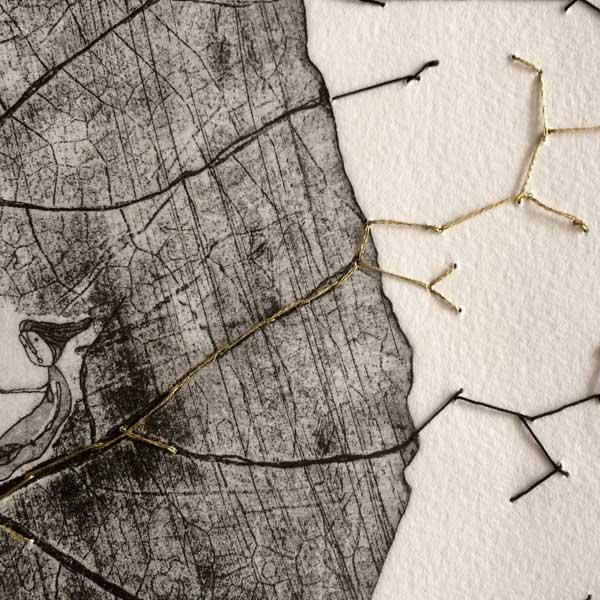 Personnage dans une toile d'araignée, gravure de Brigitte Touvron
