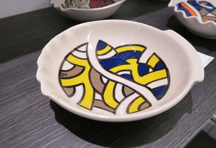 Assiette colorée motifs Art Deco