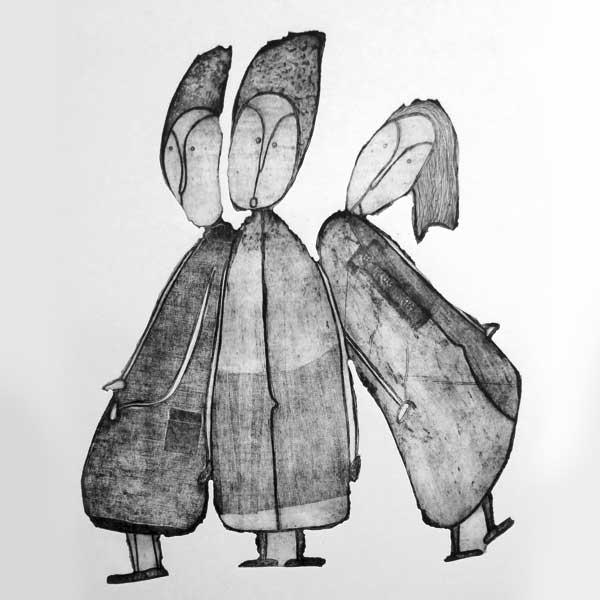 Personnages naïfs gravure noir et blanc