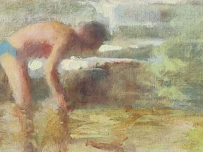 peinture contemporaine plage et enfant